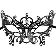 Metal Masquerade Mask - Black Butterfly