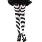Black & White Stripe Tights - Adult Size