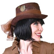Steampunk Top Hat - Brown with Lace