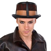 Leather Look Steampunk Top Hat - Brown