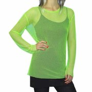 80s Fishnet Top (Adult Size) - Neon Green
