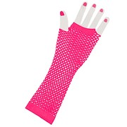 Fingerless Fishnet Gloves - Neon Pink
