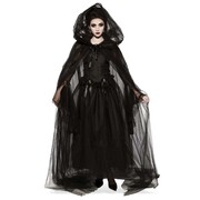 Hooded Cape Black Sheer Tulle - Adult Womens