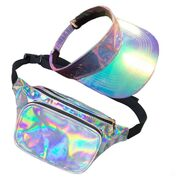 80's Galaxy Holographic Bum Bag & Visor Set