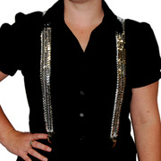 Stretch Braces - Silver Sequin