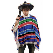 Mexican Poncho - Multi Coloured - Adult