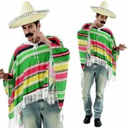 Mexican Poncho - Green/Red/Yellow - Adult Size