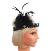 20s Flapper Sequin Headband - Black