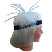 20s Flapper Sequin Headband - White/Black
