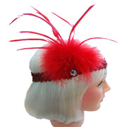 20s Flapper Sequin Headband - Red