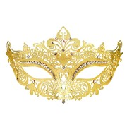 Metal Masquerade Mask - Gold with Rhinestones