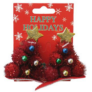 Christmas Tree Hair Clips - Red