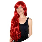 Deluxe Mermaid Long Red Wig with Fringe