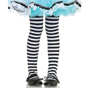Girls Stripe Tights - Black & White