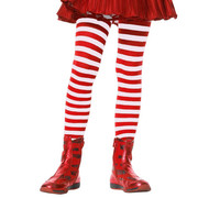 Red & White Stripe Tights - Girls