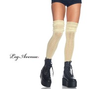 Acrylic Pointelle Over the Knee Scrunch Socks - Ivory
