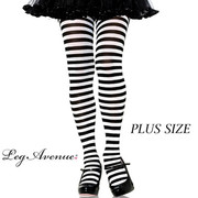 Black & White Stripe Tights - Plus Size