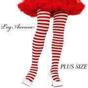 White & Red Stripe Tights - Plus Size 3X-4X