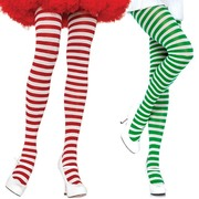 Stripe Opaque Tights - White & Green or Red