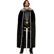 Cape with Faux Fur Trim - Black