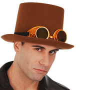 Brown Top Hat with Steampunk Goggles