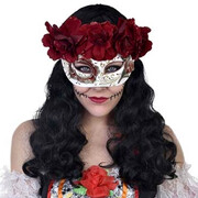 Catrina Day of the Dead Eye Mask with Flowers (Deep Red/White)