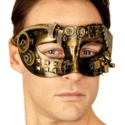 Steampunk Gold Black Eye Mask - Sinclair