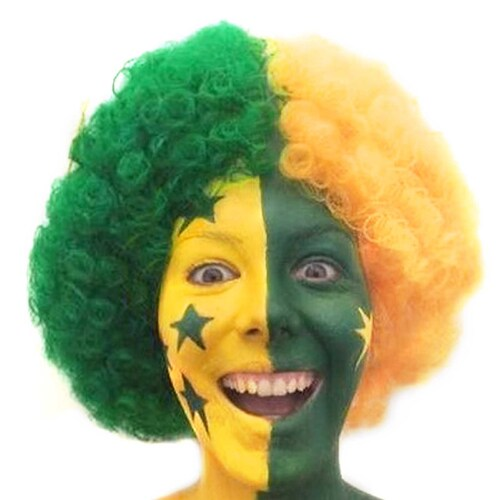 Green & Gold Afro Wig with Stars