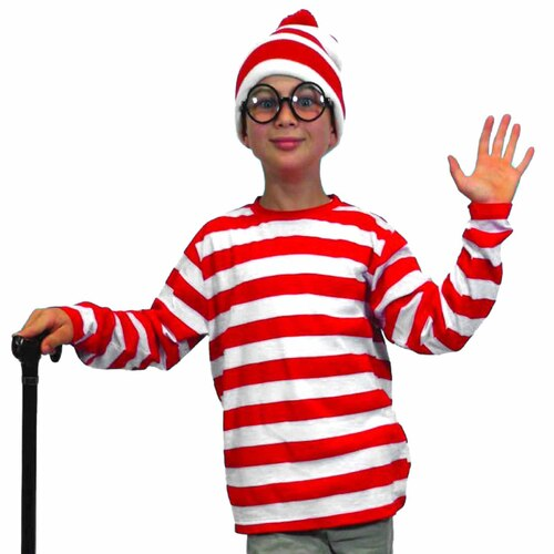 Where's Wally/Walter Costume - Child Medium