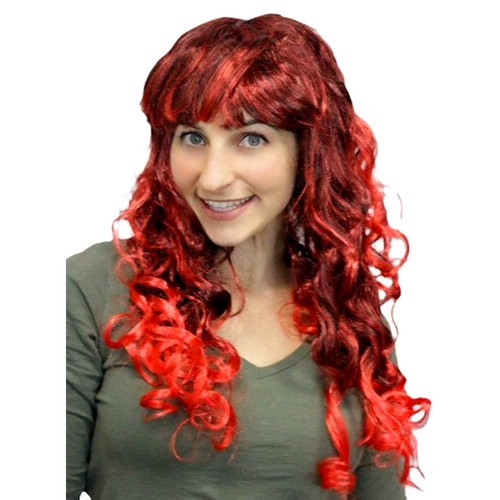 Curly Glamour Wig with Fringe - Red